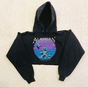 Vintage Cropped Alaskan Beer Pullover Hoodie